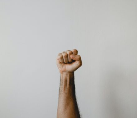 fist raised in victory